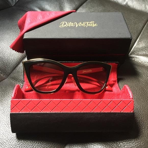 7f60bea58ca DITA Accessories - Black- Red   Gold Sunglasses Dita von Teese Tryst